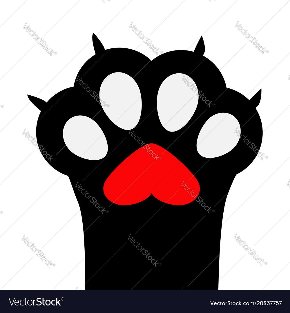 Big black cat paw print leg foot with nail claw
