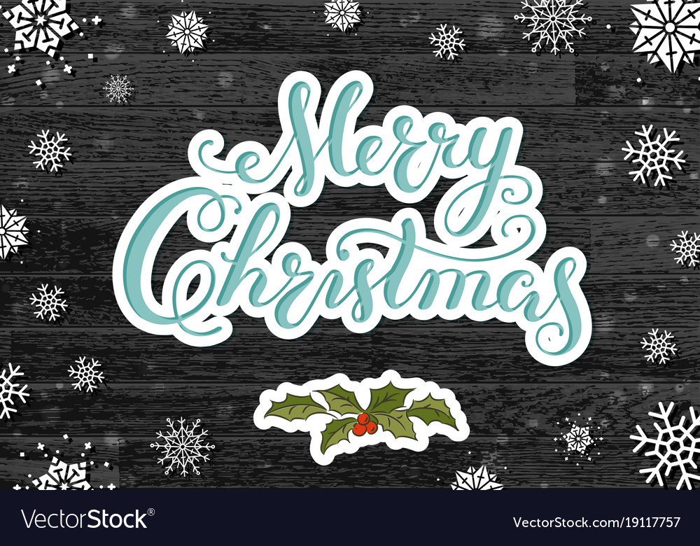 Calligraphy lettering merry christmas with hand