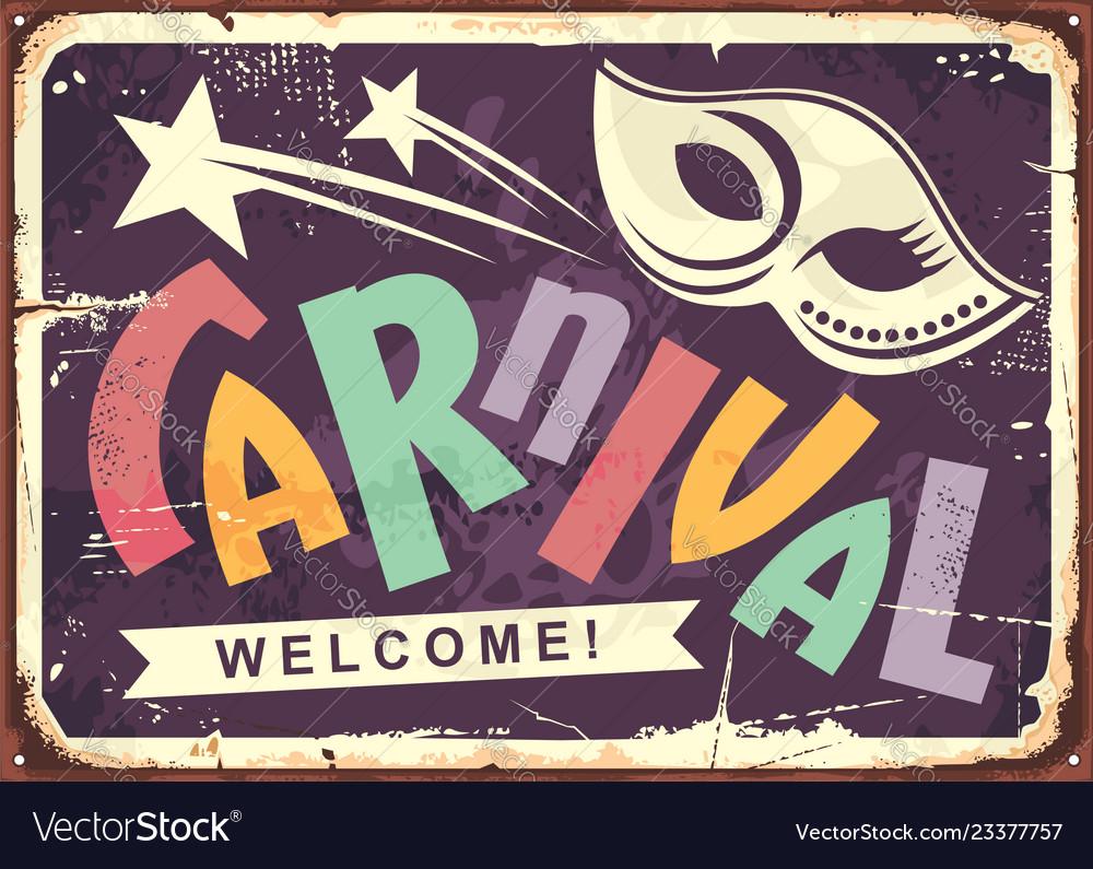 Carnival retro tin sign design