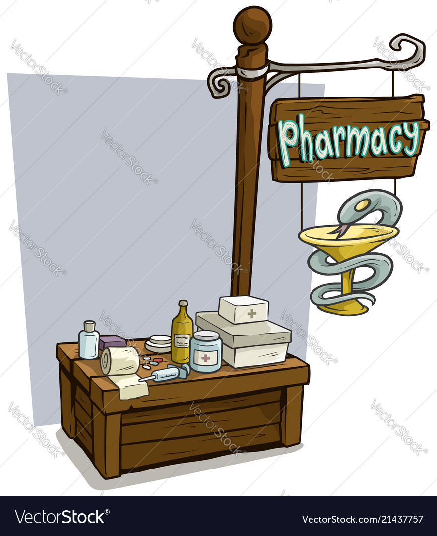 Cartoon pharmacy vendor booth market wooden stand