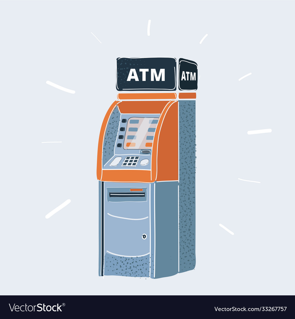 Cash machine on white