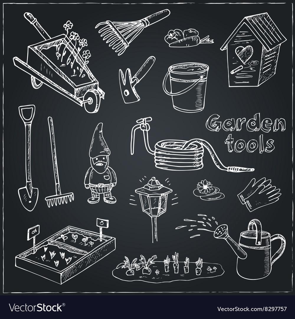 Garden tools doodle set Various equipment