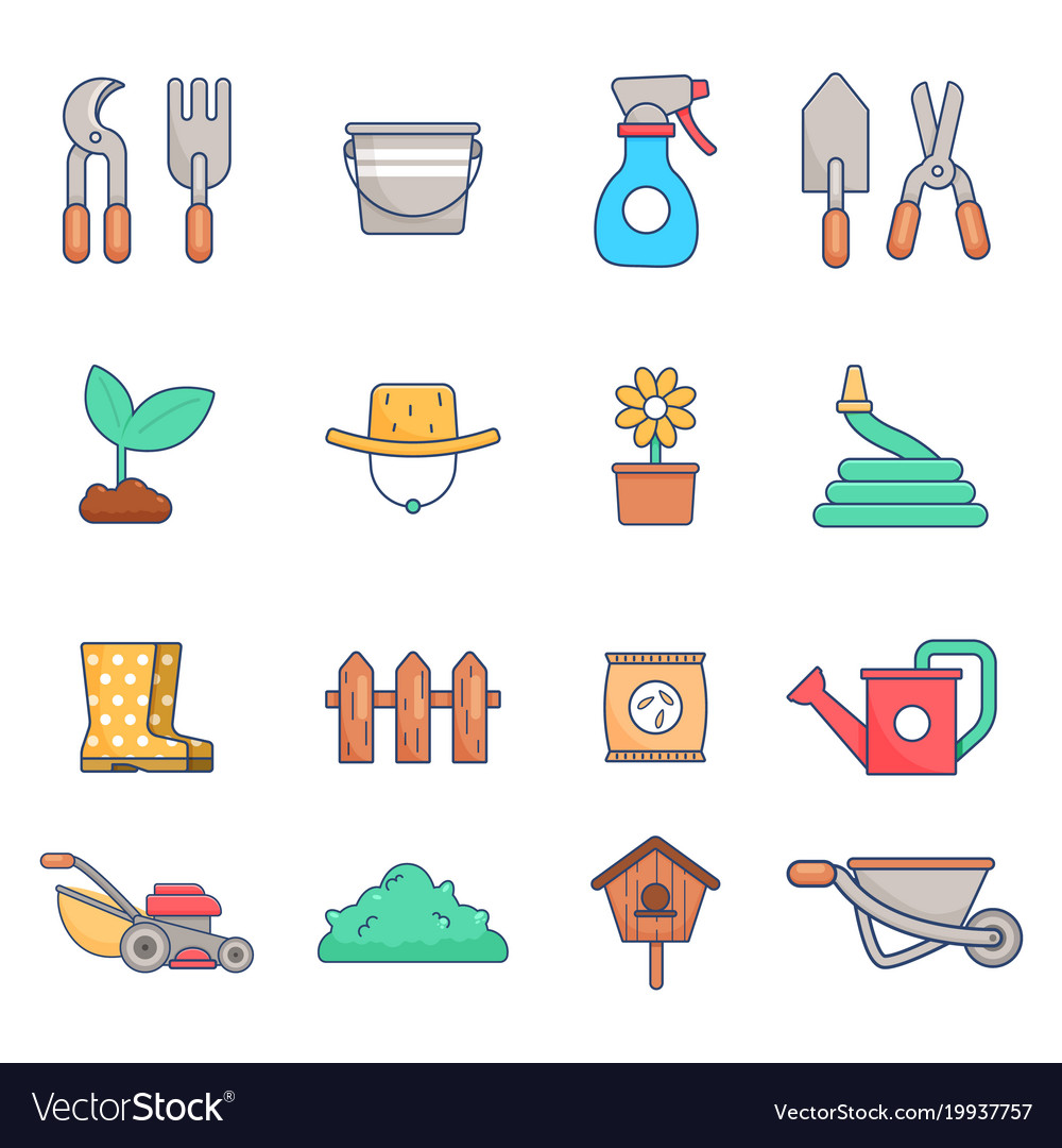Gardening icon set flat style vector image