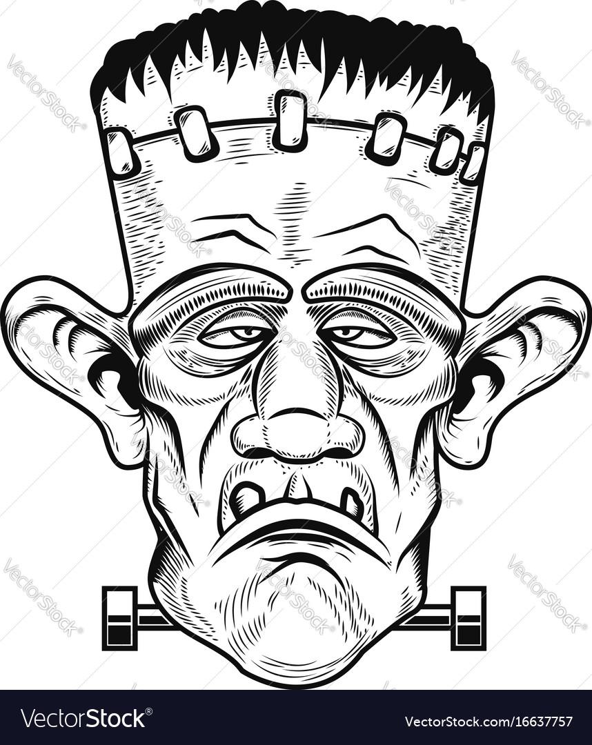 Monster head halloween zombie design element for