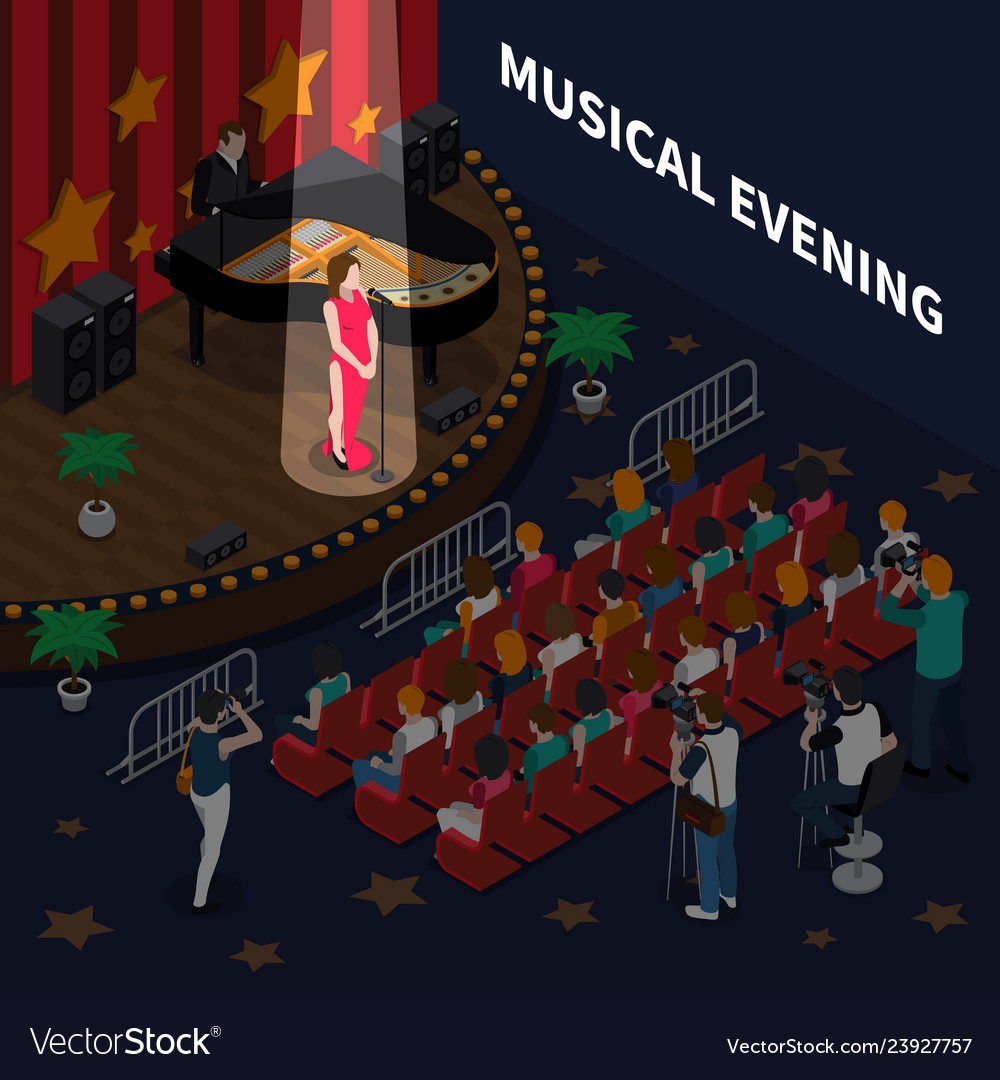 Musical evening isometric composition