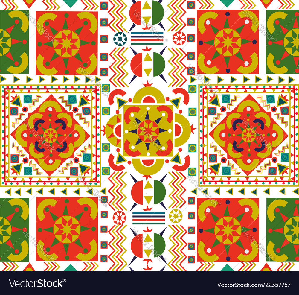 Retro seamless pattern tile folk floral art