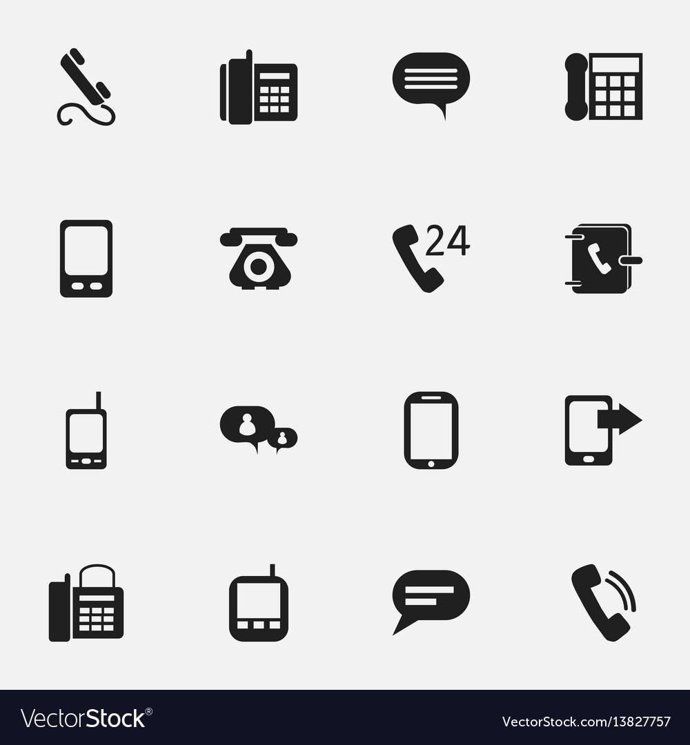 Set of 16 editable gadget icons includes symbols
