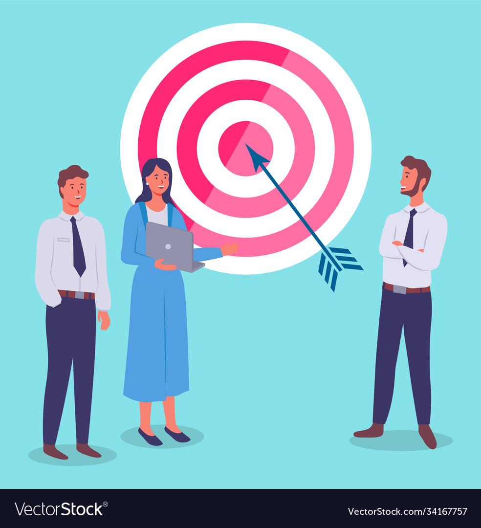 Target with arrow in bullseye business teamwork
