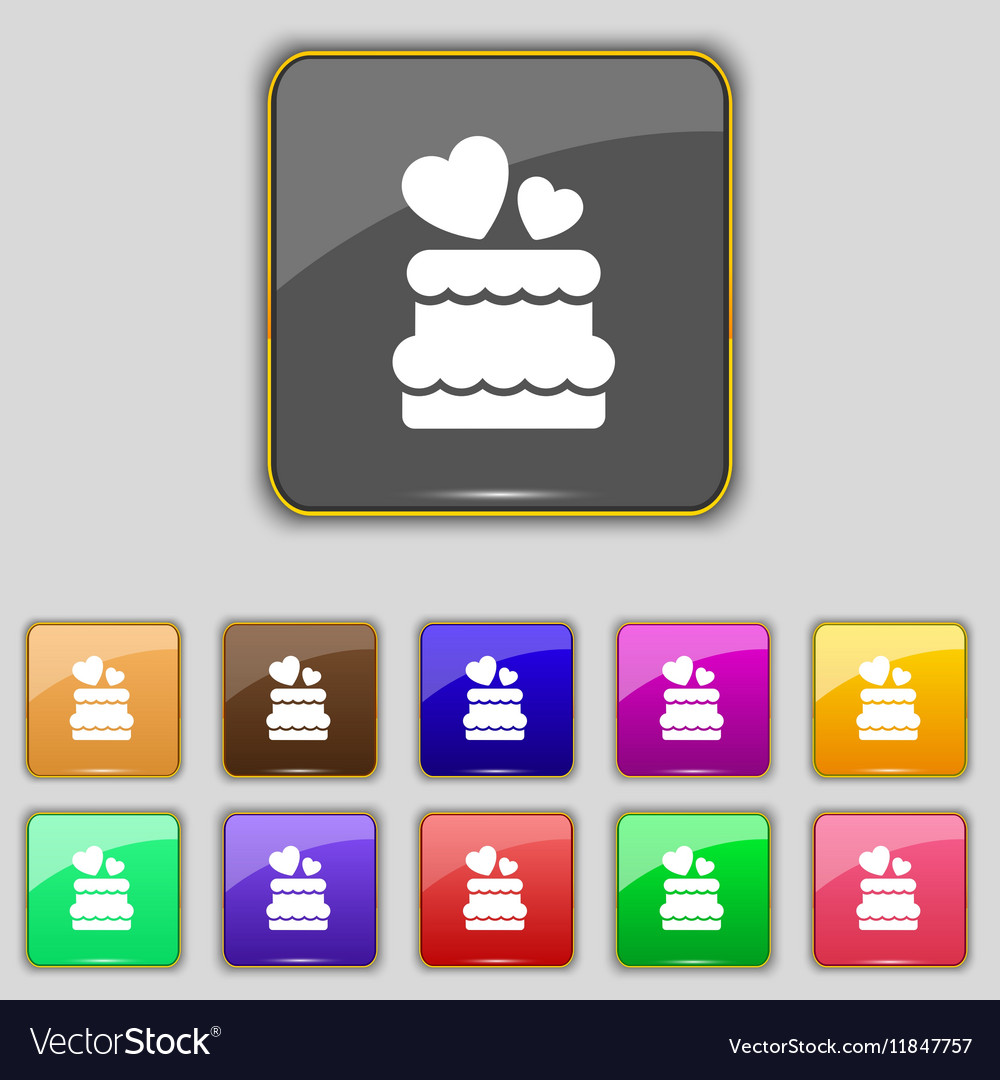 Wedding cake icon sign Set with eleven colored