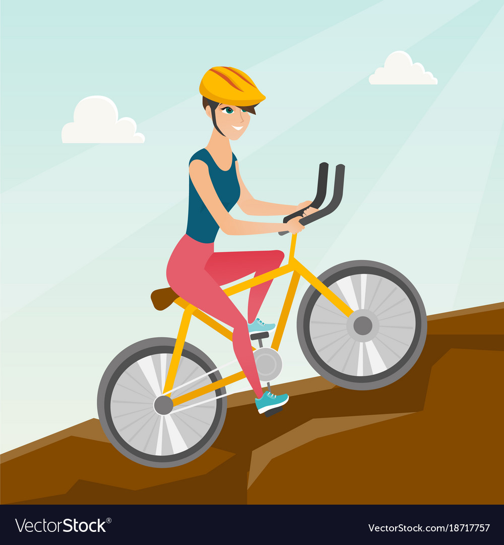Young Woman On Bicycle Traveling In The Mountains Vector Image On Vectorstock