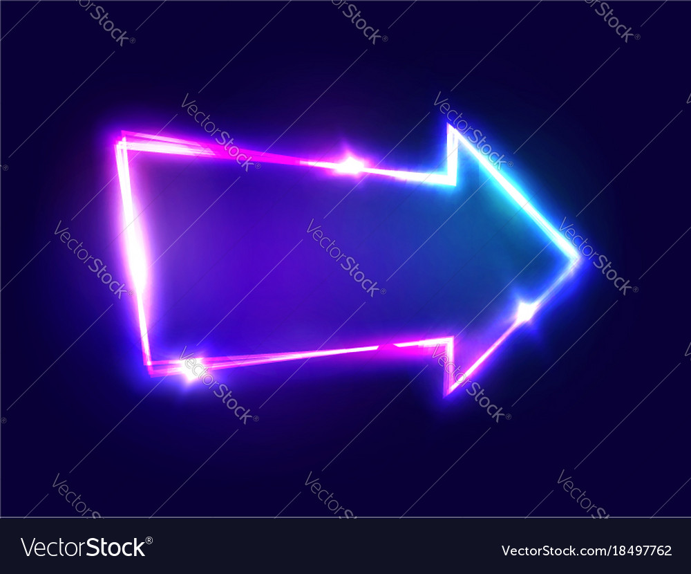 3d light bar arrow pointer with neon effect vector image aloadofball Gallery