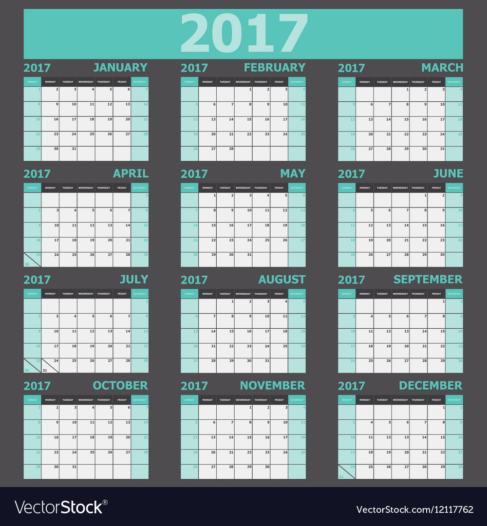 Calendar 2017 week starts on Sunday green tone