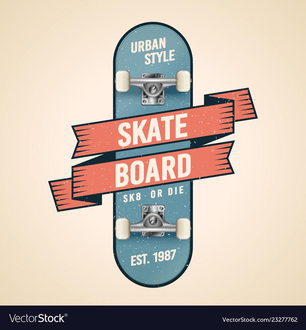 Classic skateboarding logo in old school style