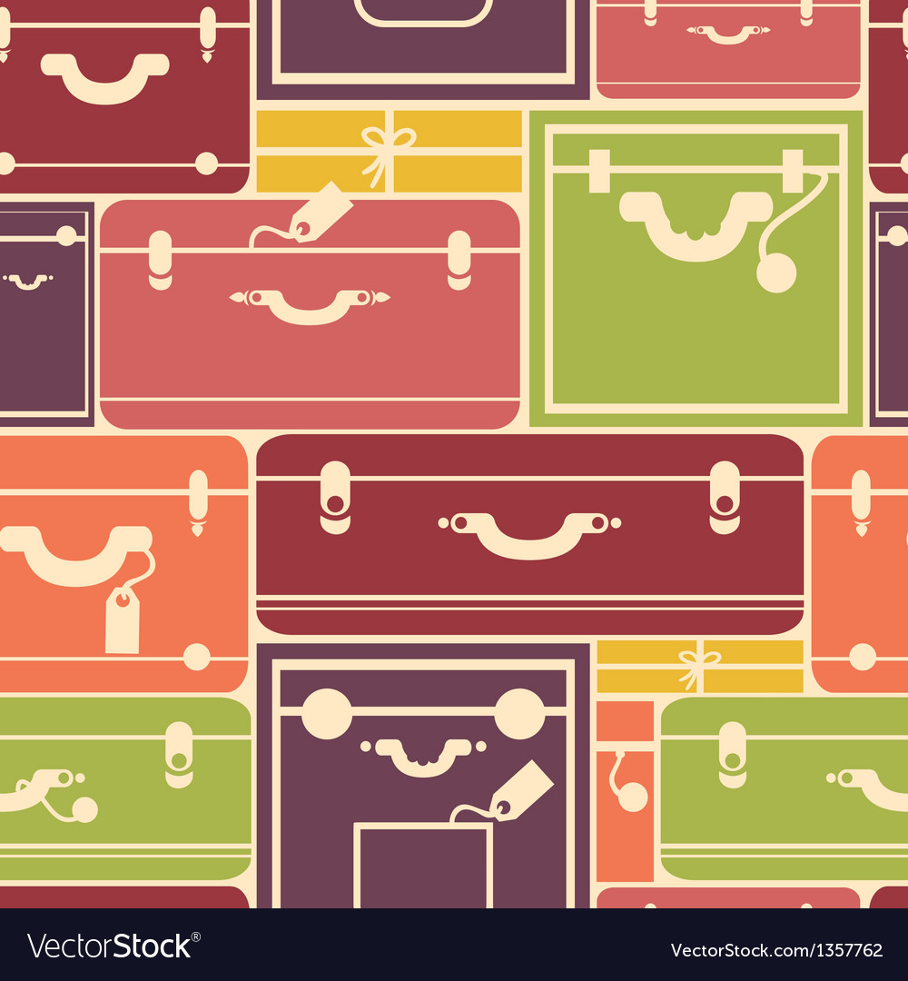 Colorful luggage seamless pattern background