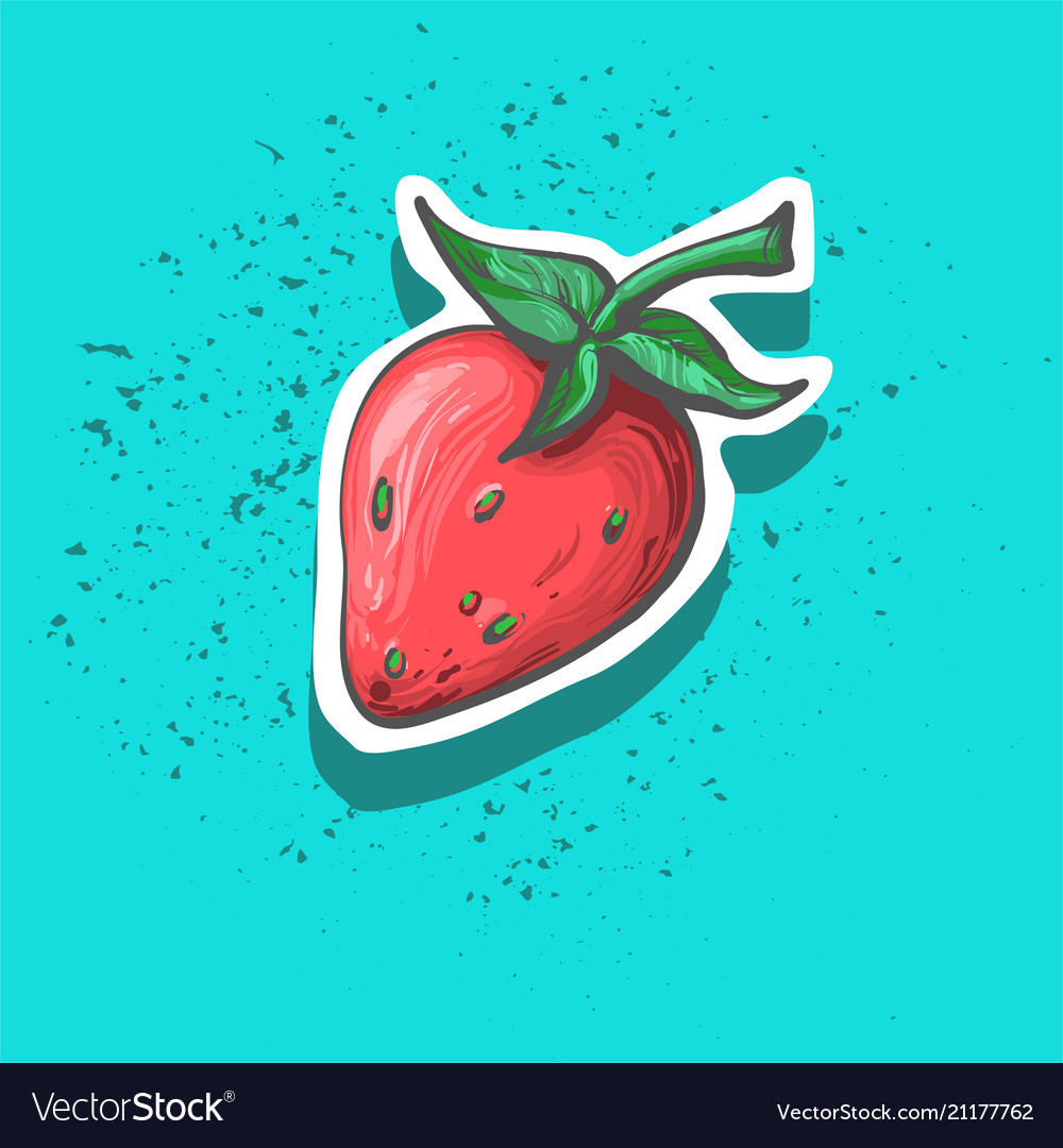 Cute strawberry with seeds hand drawn sticker