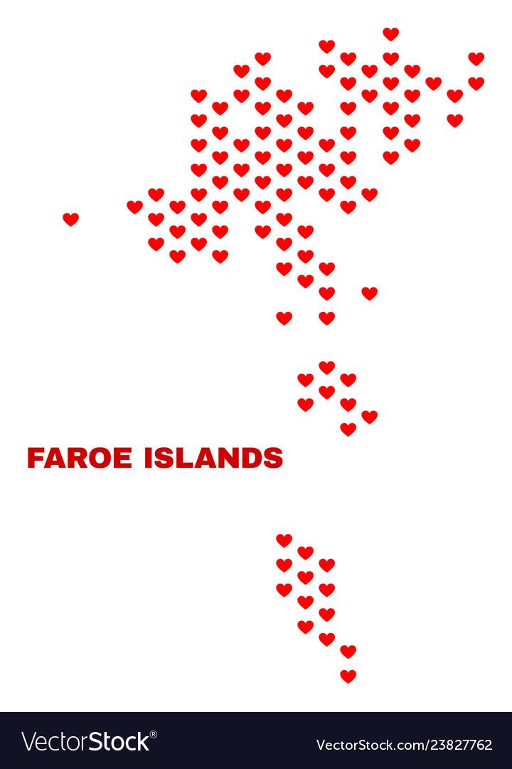 Faroe islands map - mosaic of valentine hearts