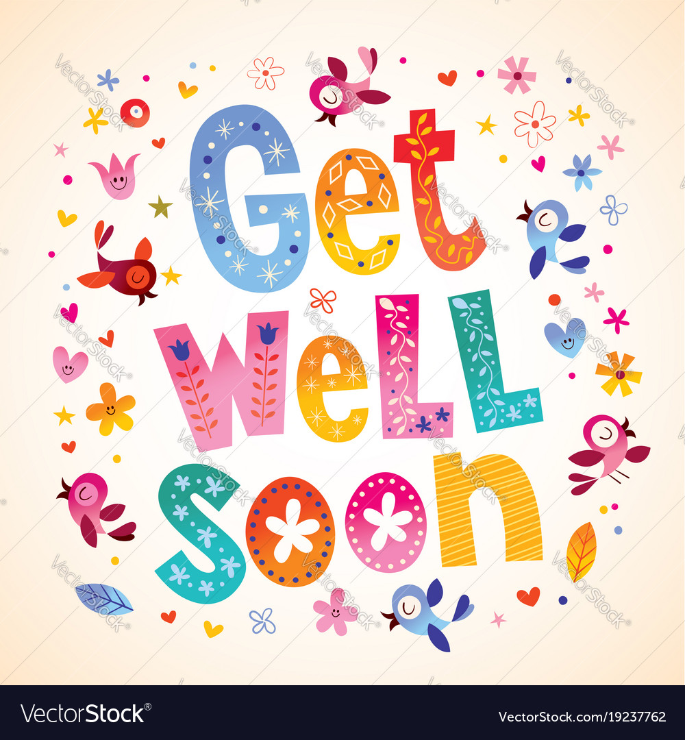Get Well Soon Card Royalty Free Vector Image Vectorstock