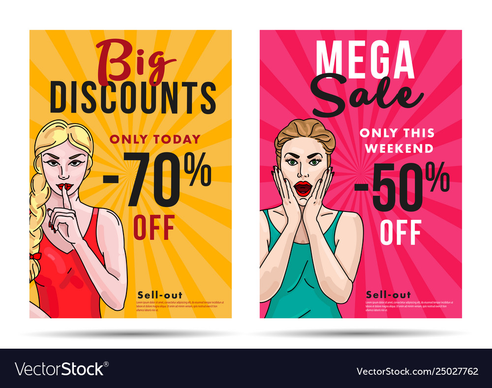 Girl sale posters with discount and pop art