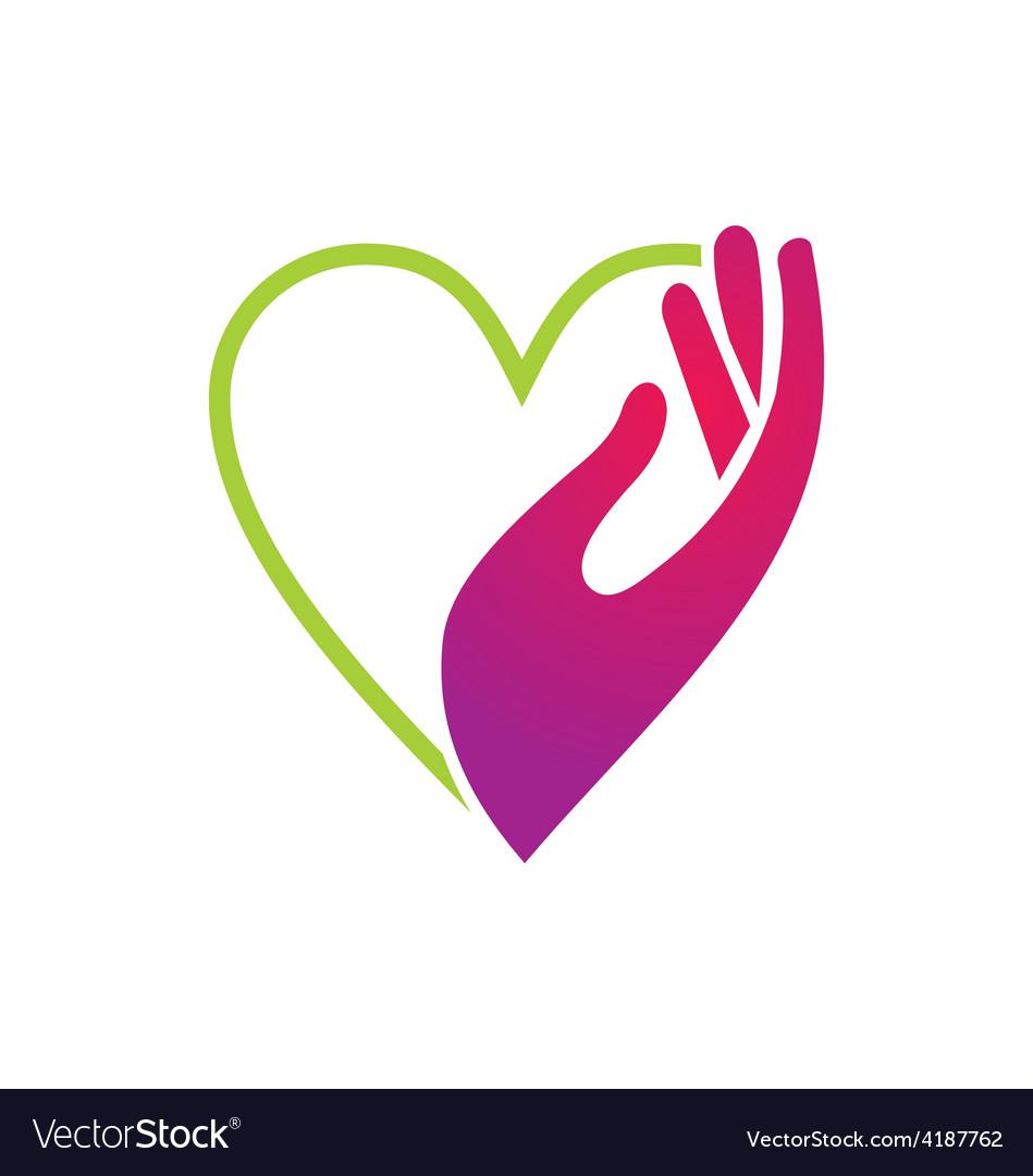 Heart hand care beauty logo