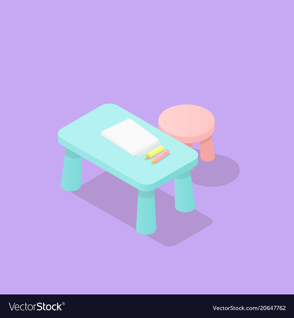 Low poly isometric children table and chair vector image