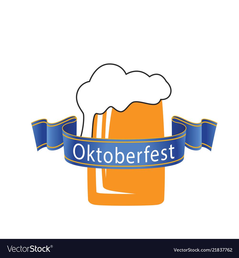 Oktoberfest blue ribbon beer mug background