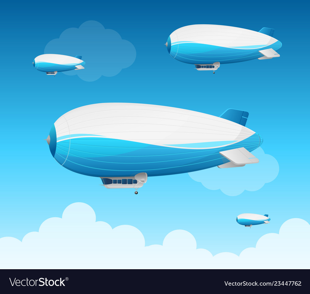 Realistic 3d detailed dirigible fly card