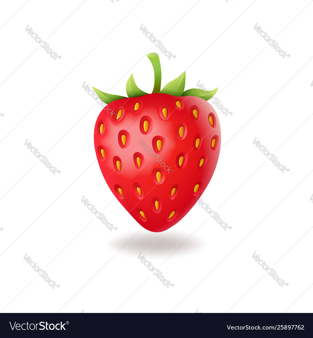 Realistic sweet strawberry with green leaves