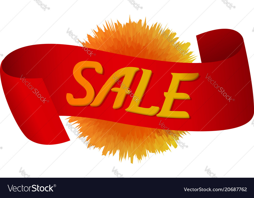 Red ribbon with label sale