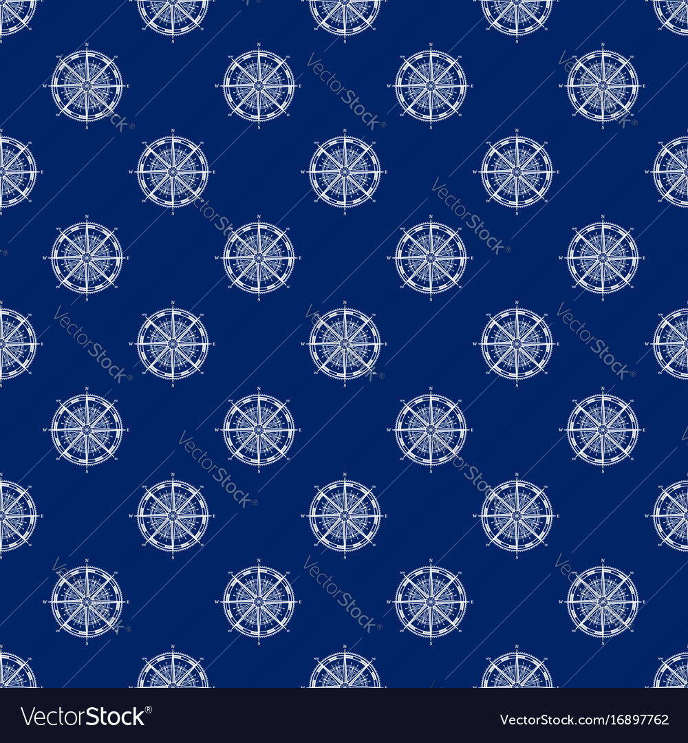 Seamless travel pattern with windrose line style
