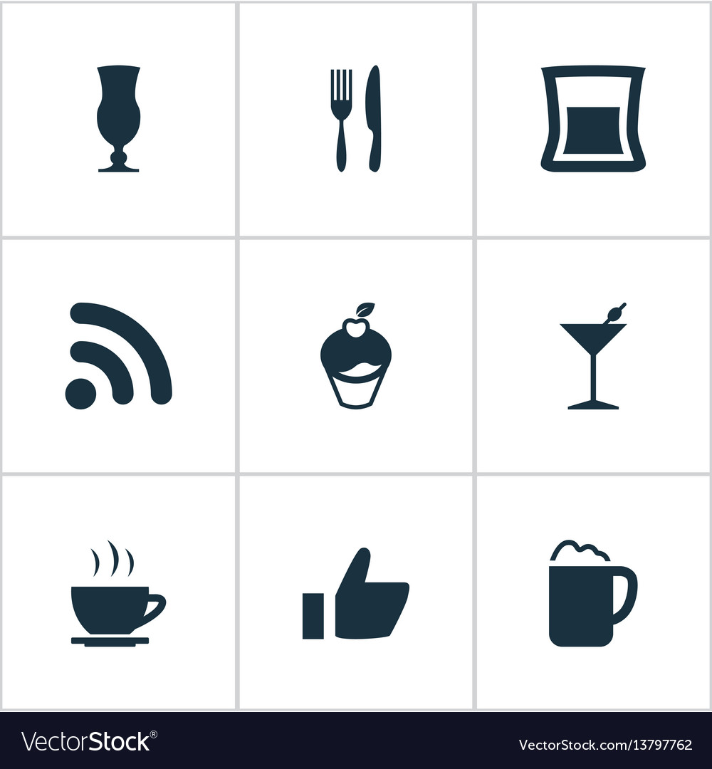 Set of simple restaurant icons