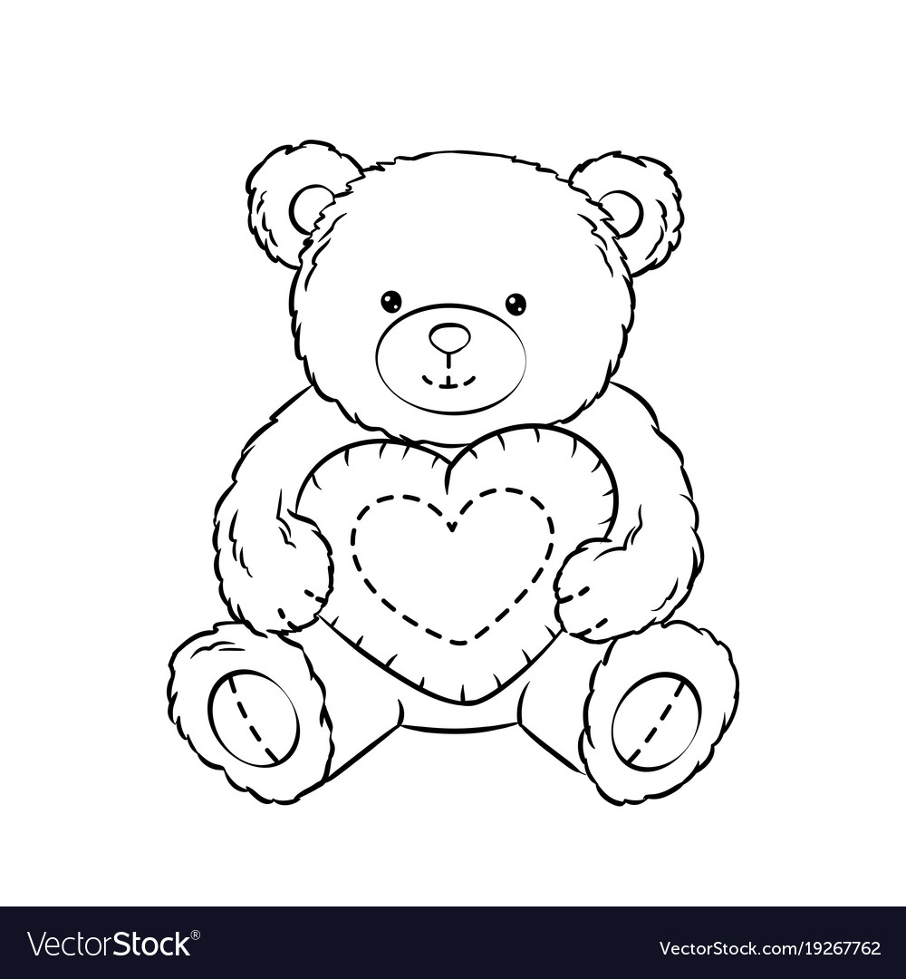 Teddy bear toy with heart coloring book Royalty Free Vector