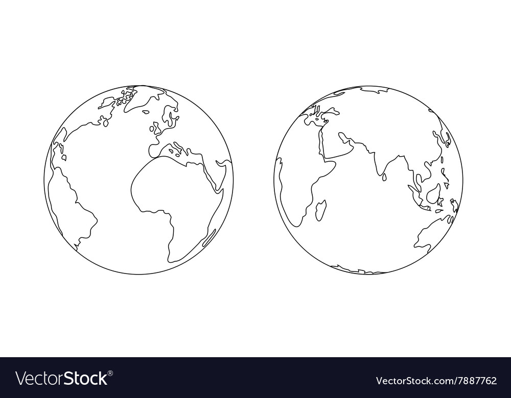 World planet Earth globe outline icon vector image