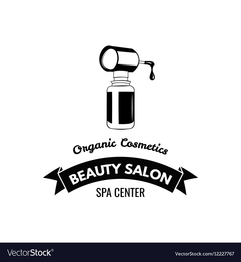 Beauty Salon Badge Nail Polish Makeup Ribbon Logo vector image