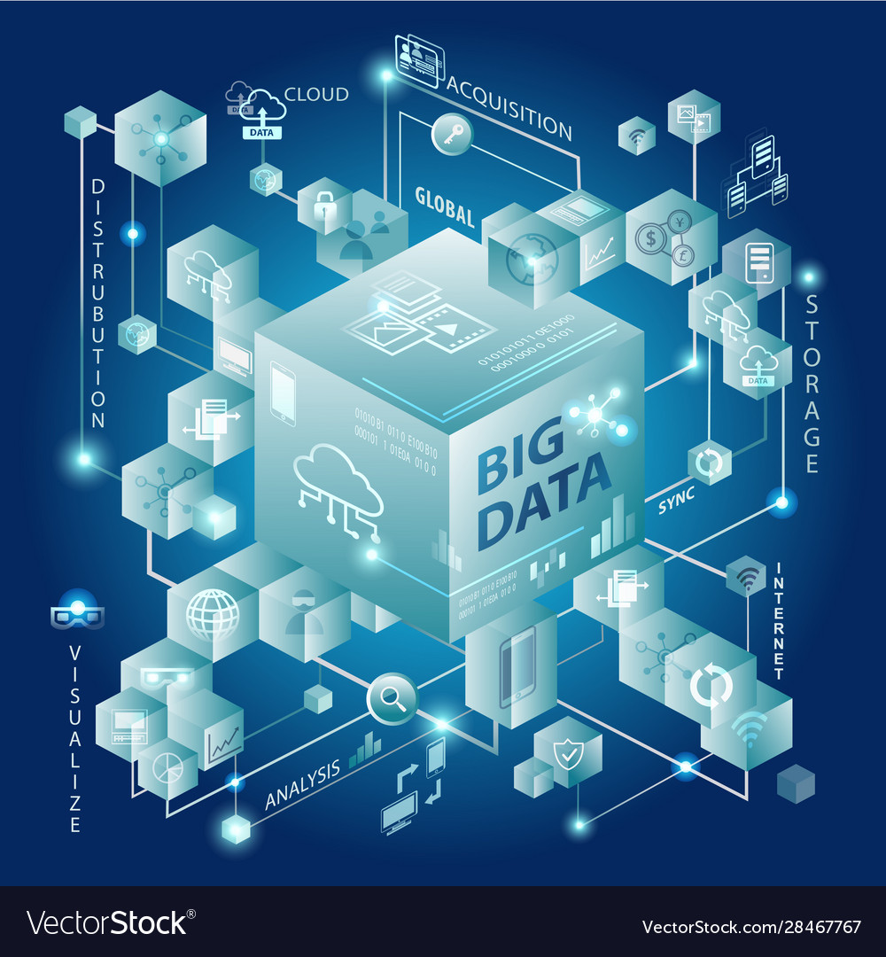 Big data and cube design showing connectivity