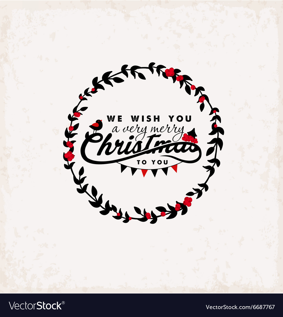 Christmas Greeting Design Element Vintage Style vector image