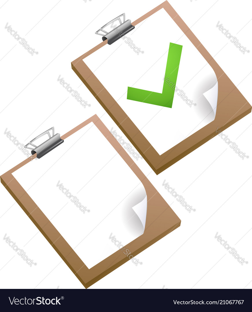 Clipboard with green ticks checkmarks checklist