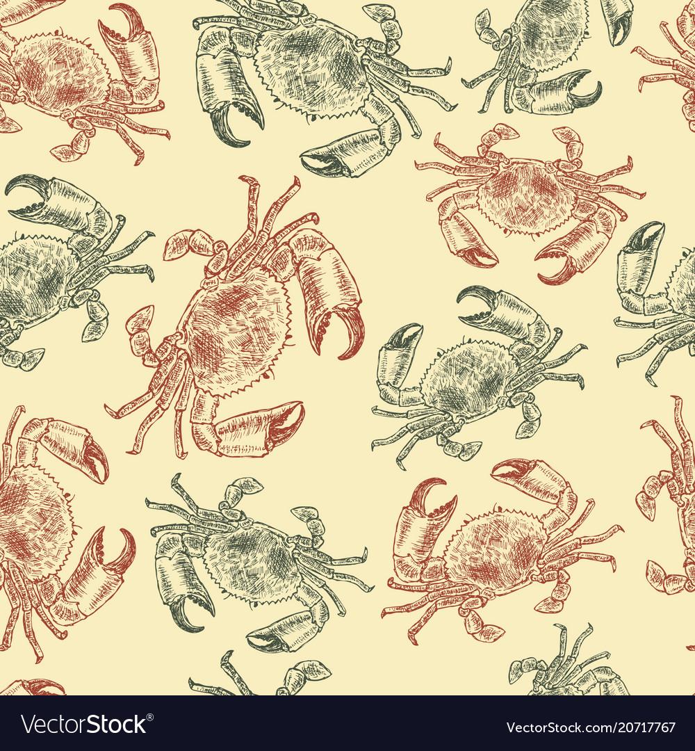 Crab sketch seamless pattern