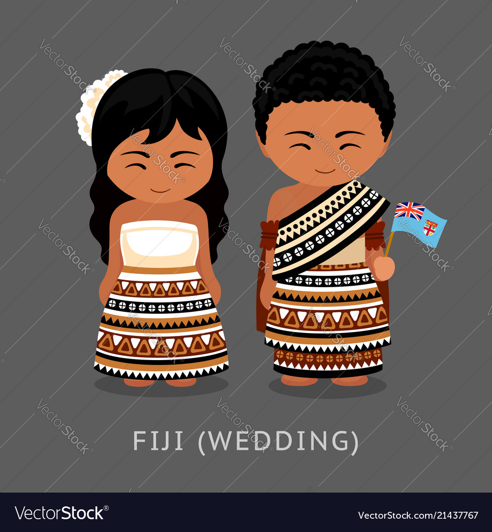 Fijians in national dress with a flag