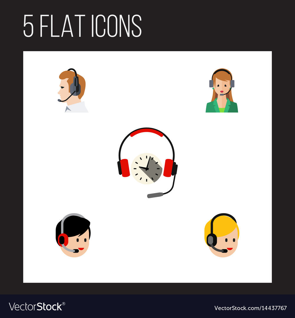 Flat call set of secretary operator headphone vector image