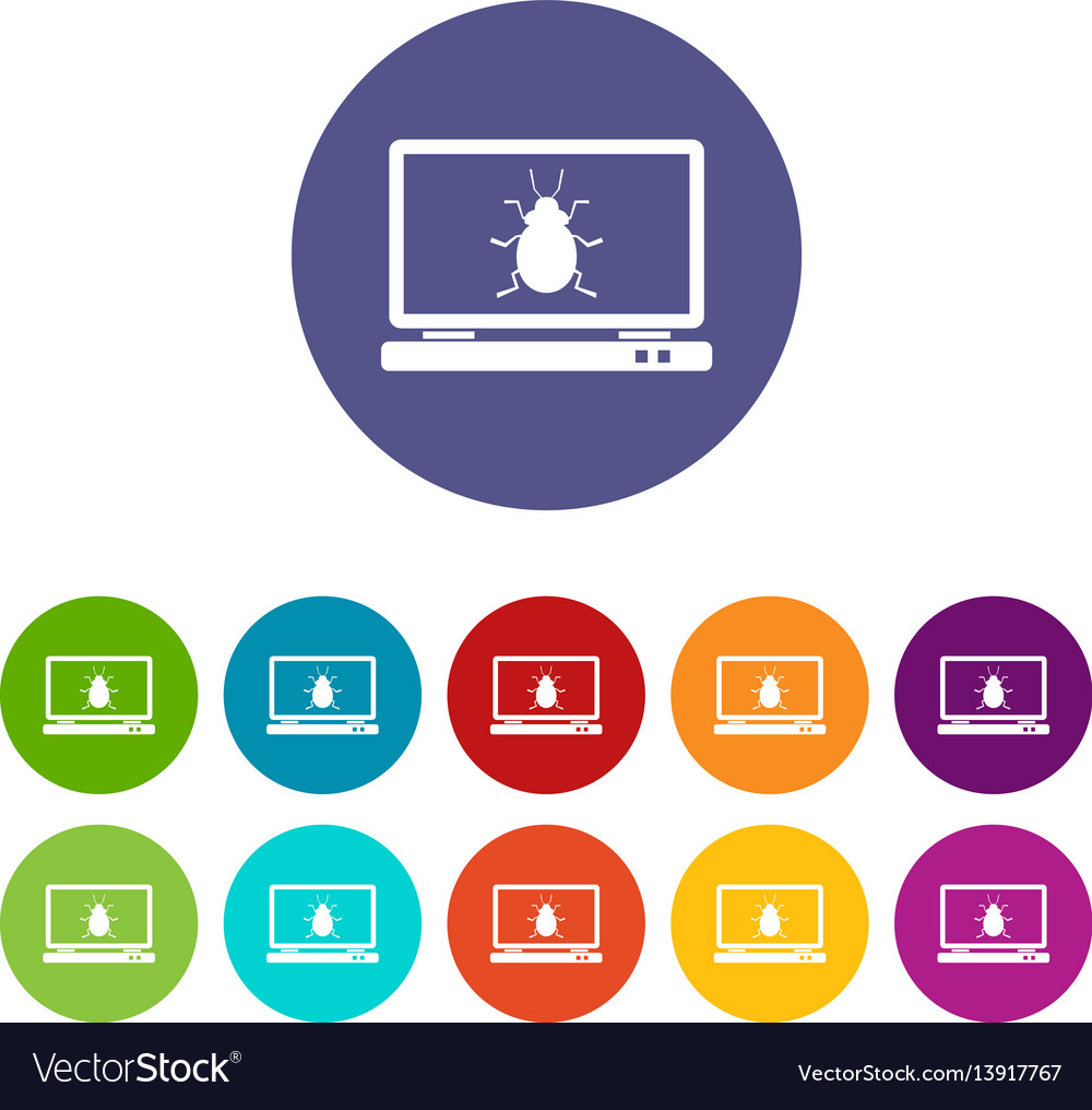 Laptop set icons vector image