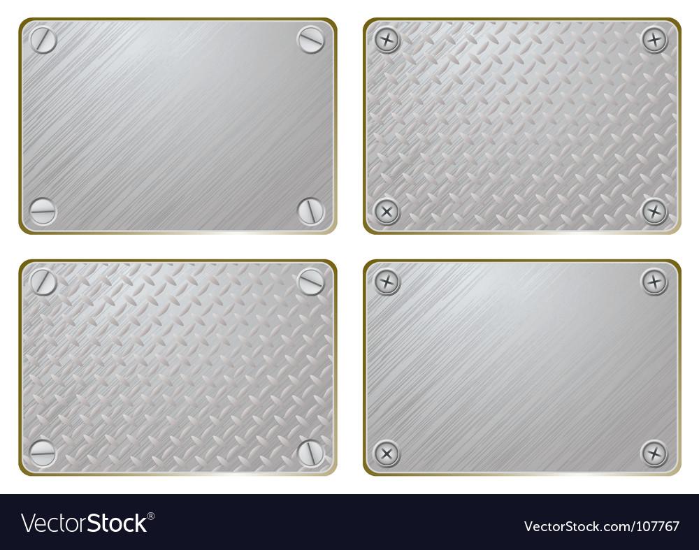 Metal name plate vector image