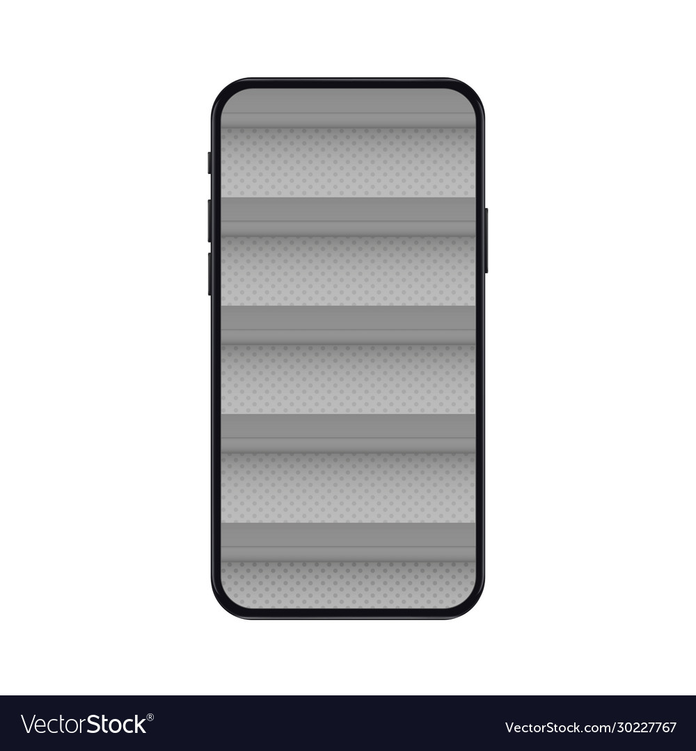 Mobile phone with empty shelves for online store