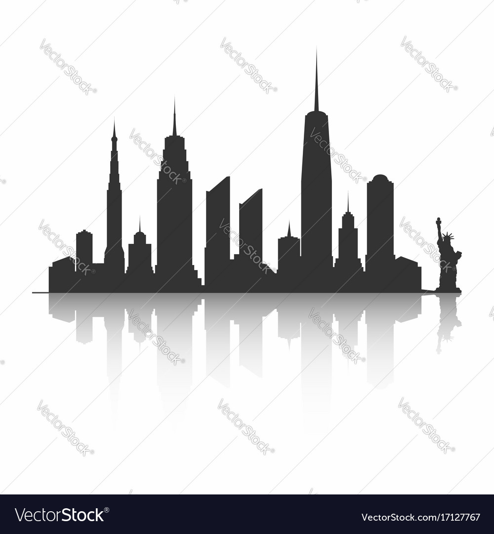 New york city skyline silhouette skyscrapers and