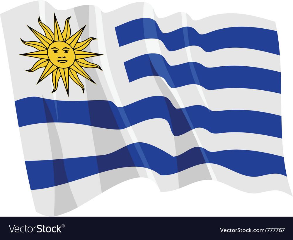 Political waving flag of uruguay vector image