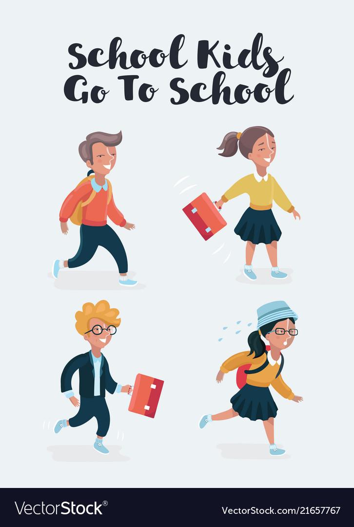 School children cartoon