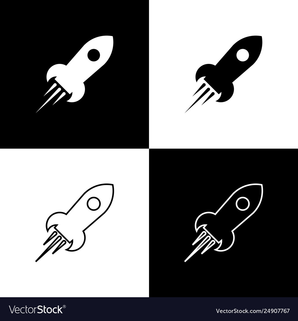 Set rocket ship with fire icons isolated on black