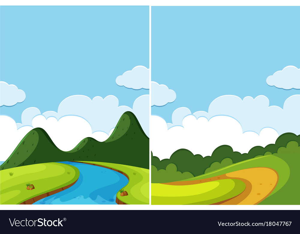 Two scenes of river and road at day time