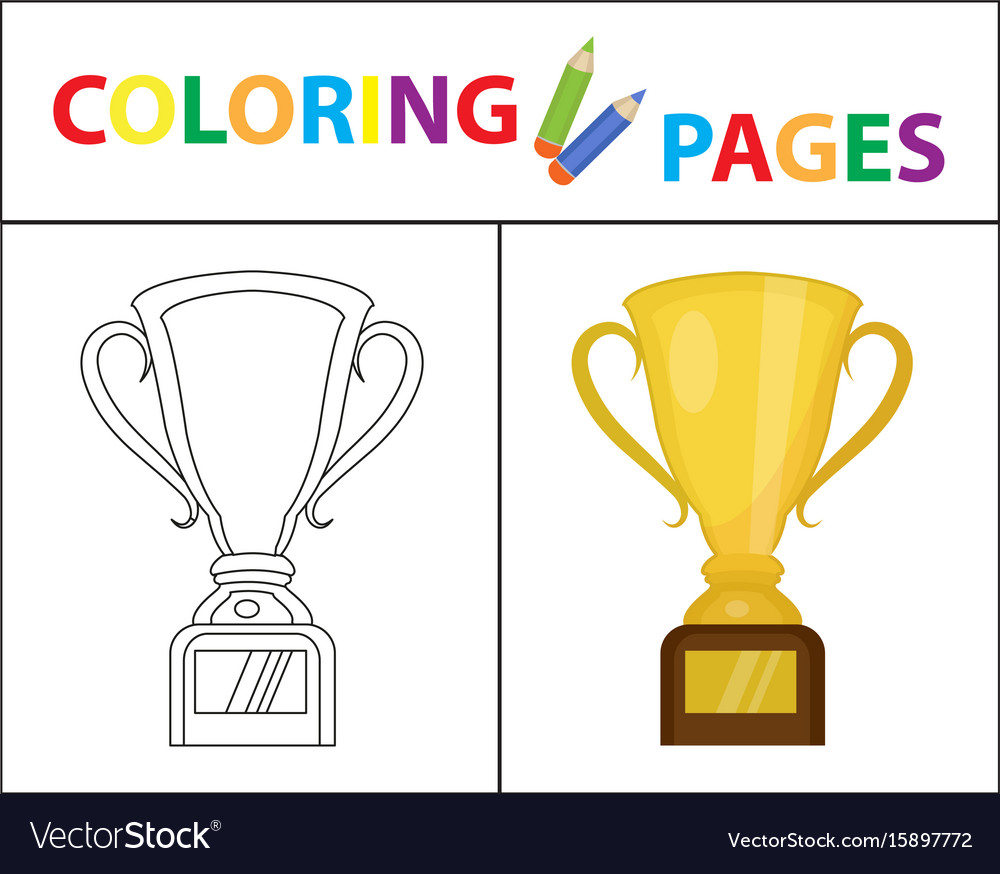 Coloring book page gold cup winner prize sketch