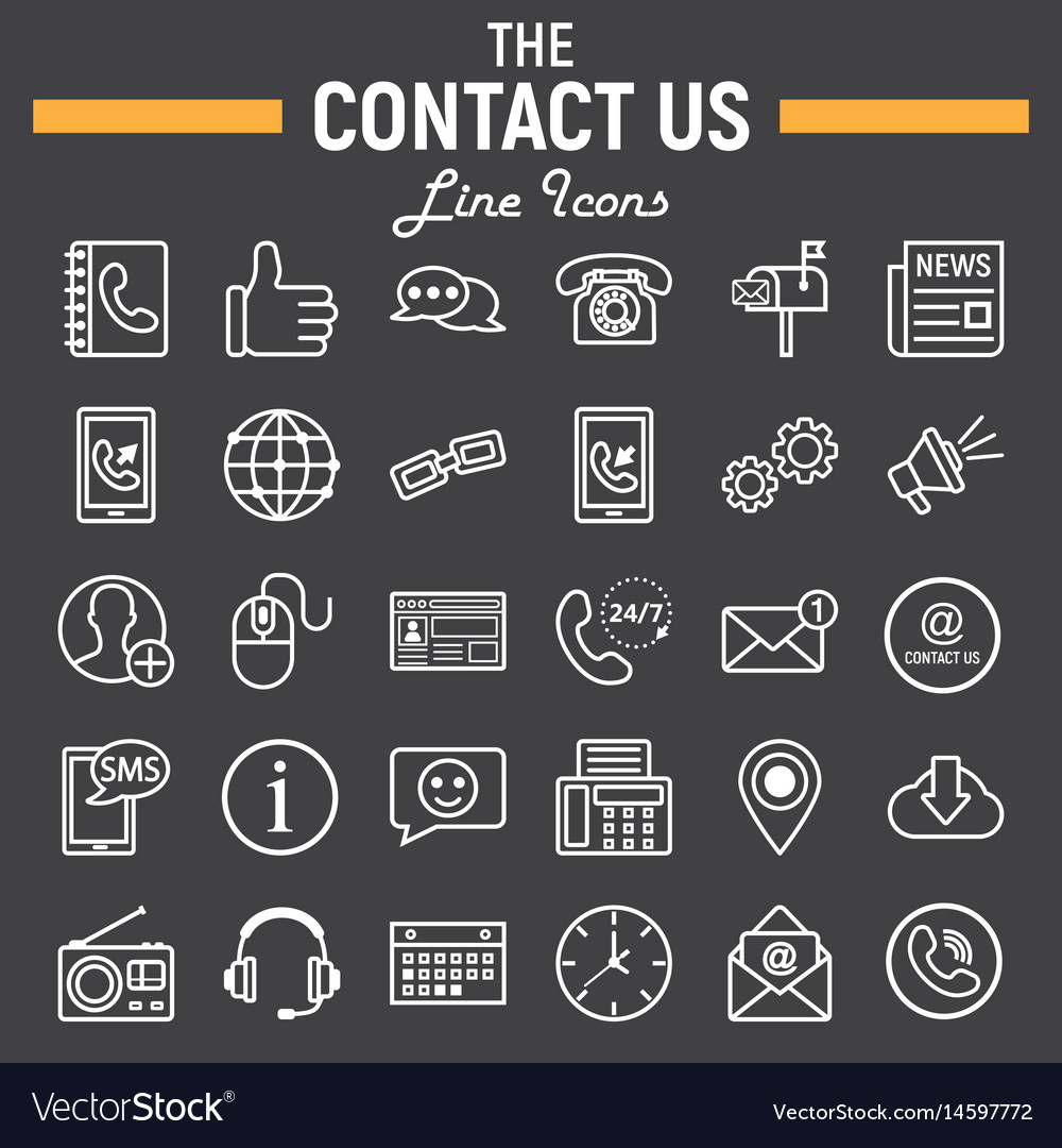 Contact us line icon set web button signs