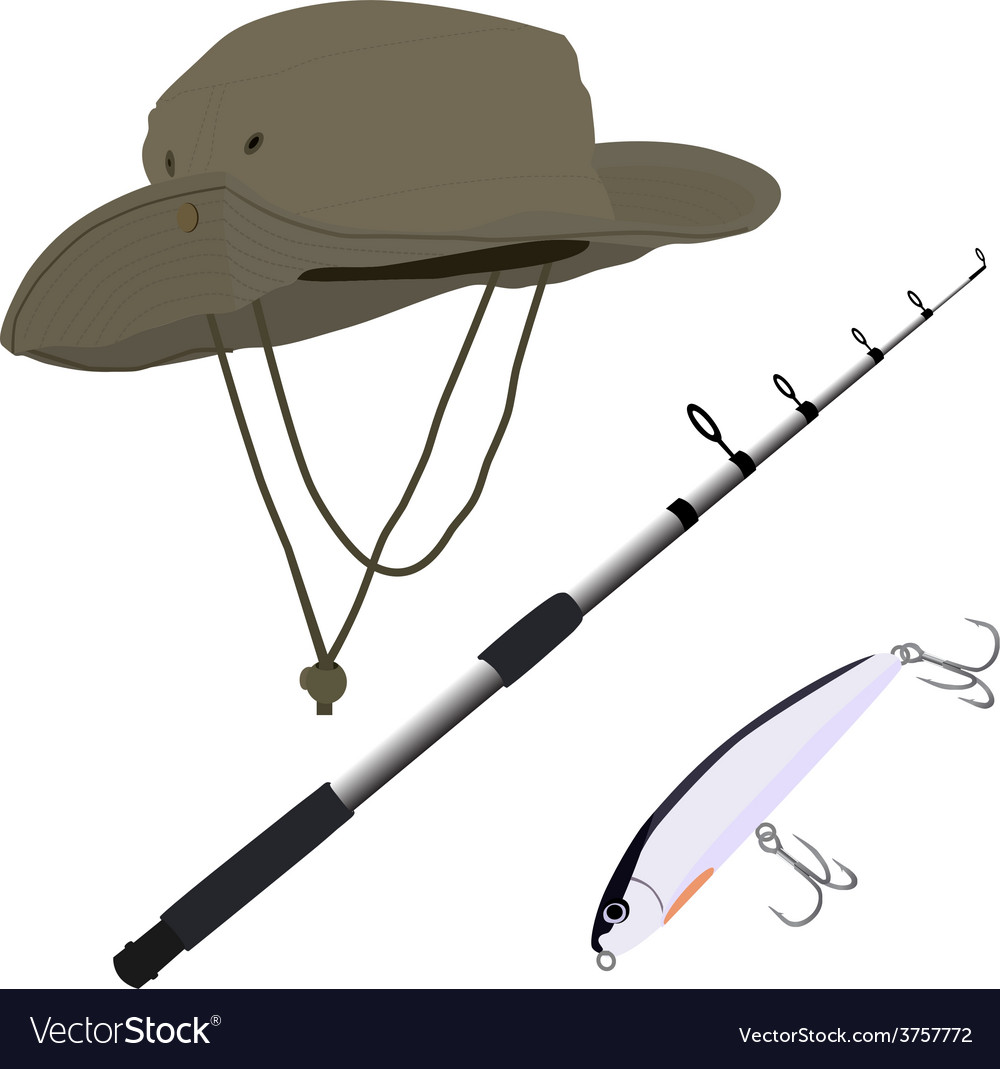 Fishing pole hat and bait